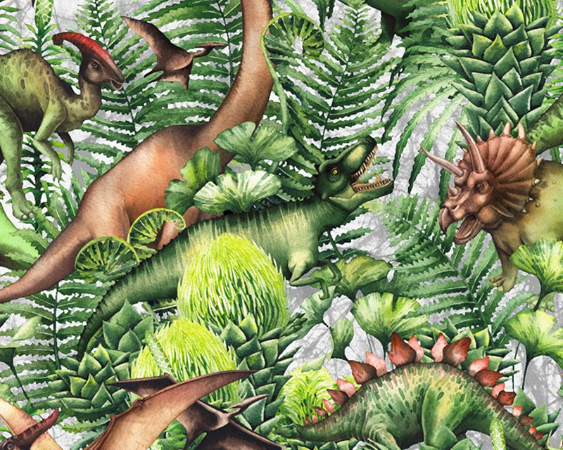 Little Johnny -  Leafy Dinosaur Digital Cotton