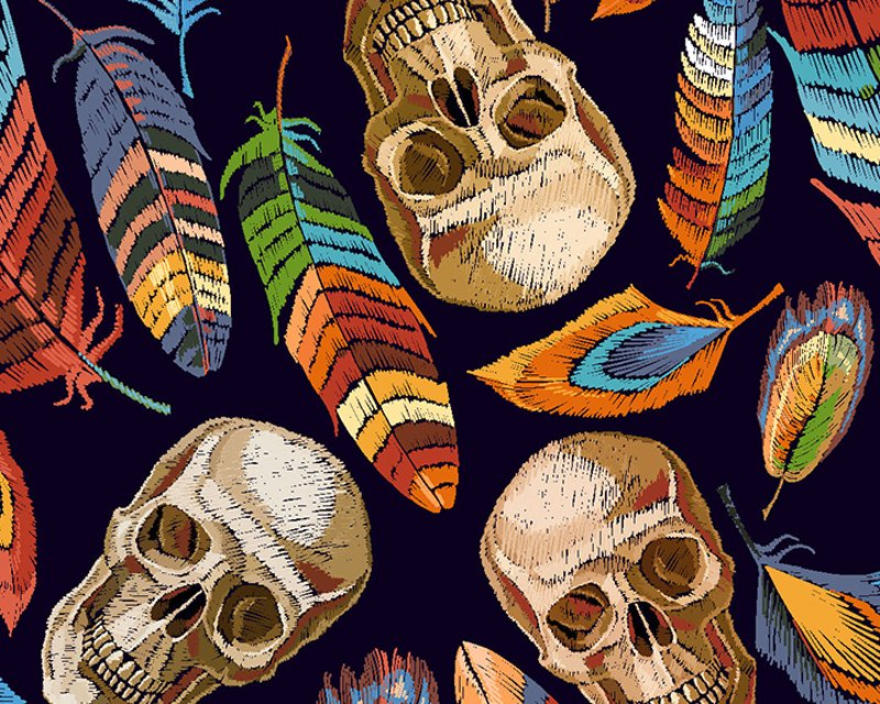 Little Johnny -  Skulls & Feathers Digital Cotton- Due In