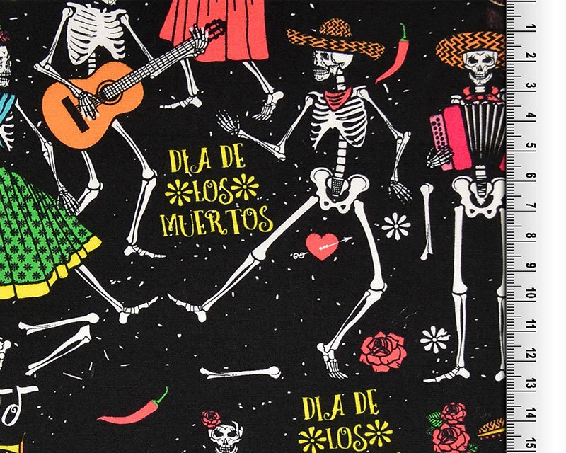 Dancing Halloween Calaca Skeletons Cotton