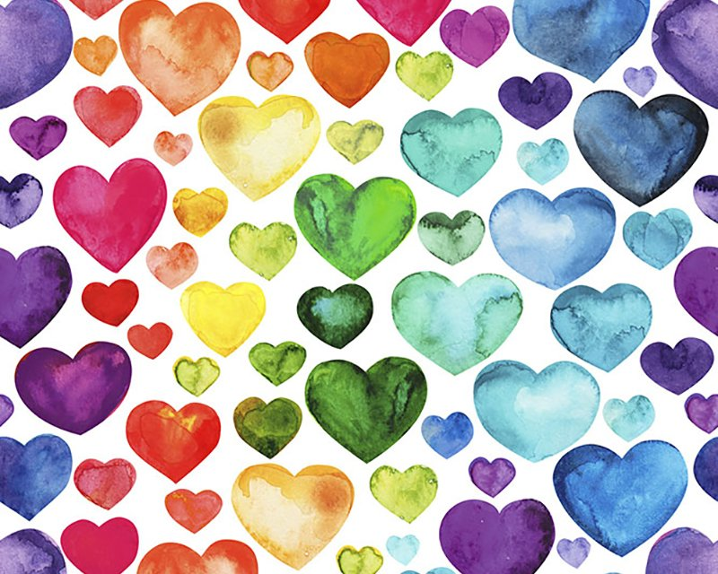 Little Johnny -  Rainbow Watercolour Hearts Cotton