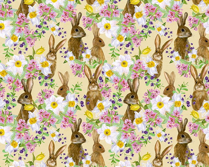 The Little Johnny Range Digital Cottons Bunnies & Flowers
