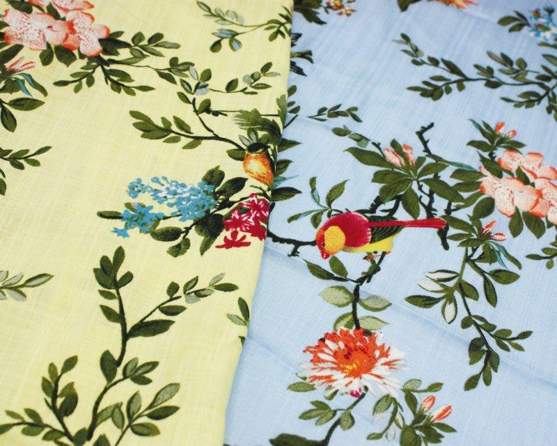 Floral Bird Linen Look