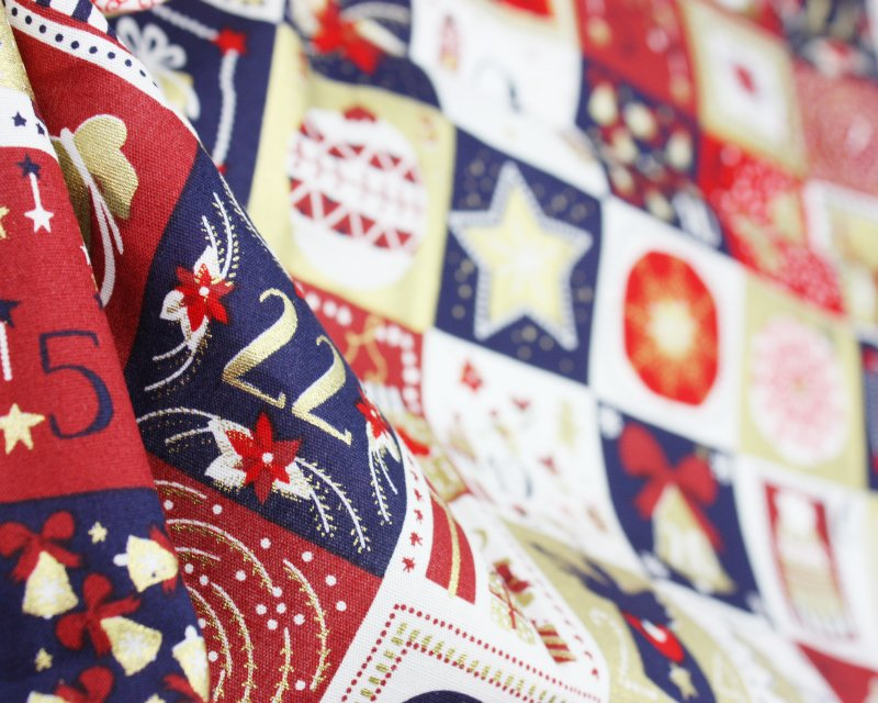 Xmas Patchwork Advent Cotton Poplin