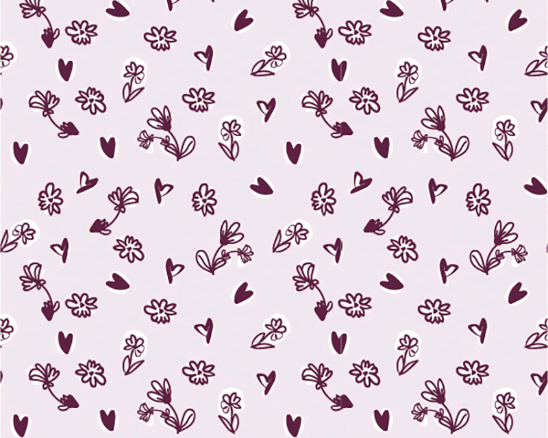 Flowers and Hearts Cotton Jersey