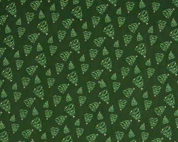 Christmas Tree Swirl Metallic Cotton