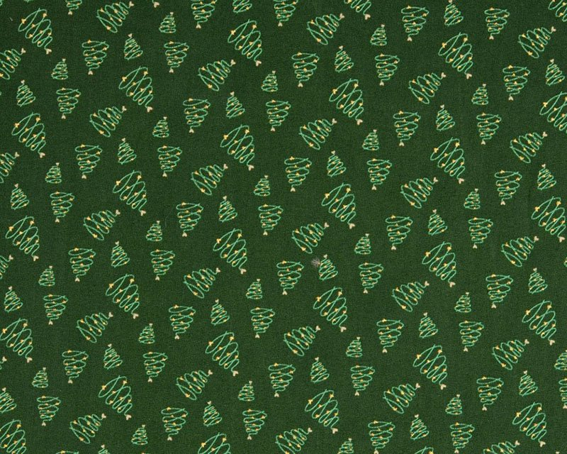 Christmas Tree Swirl Metallic Cotton