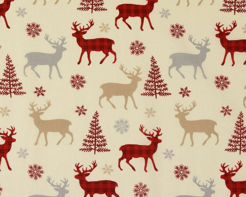 Christmas Reindeer Check Cotton