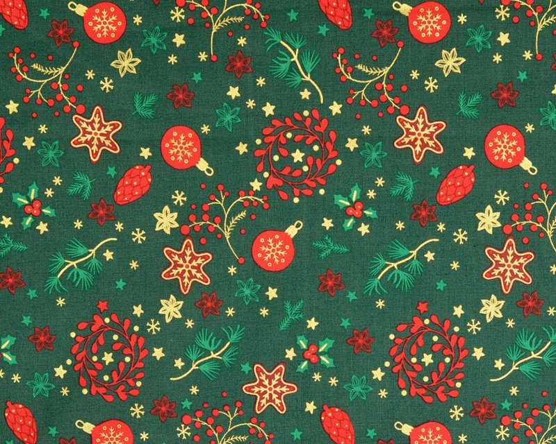 Christmas Wreath Metallic Cotton