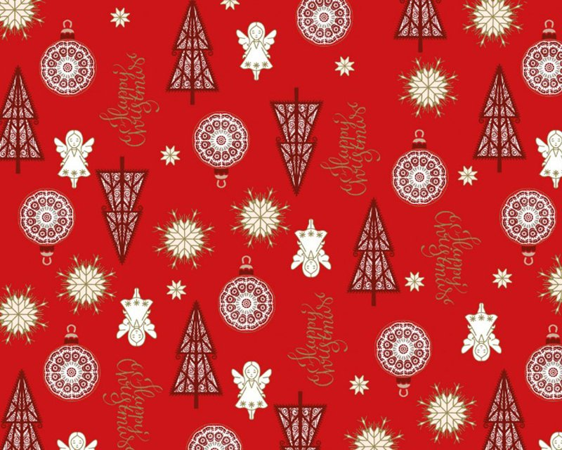 Happy Christmas Metallic Angel Cotton