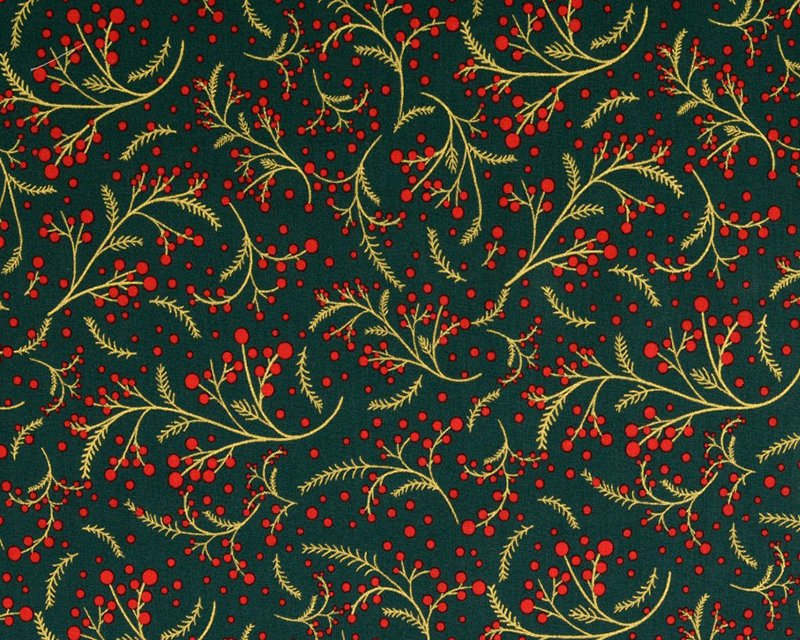 Swirly Holly Metallic Christmas Cotton