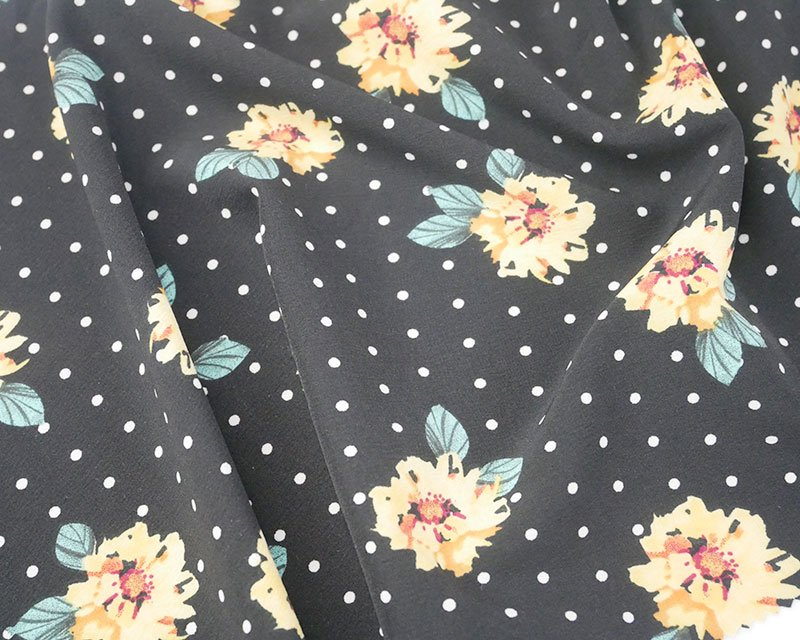 Spot Floral Stretch Peachskin