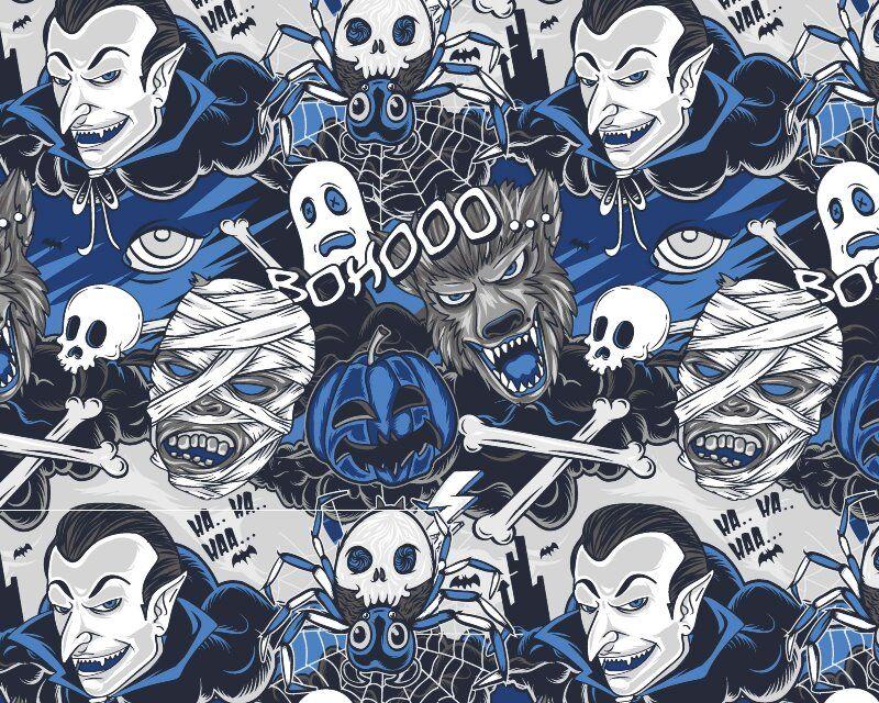 Halloween Comic Strip Cotton Poplin