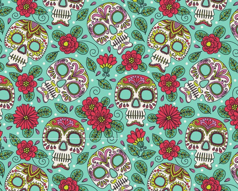 Halloween Floral Calaca Skulls Cotton Poplin