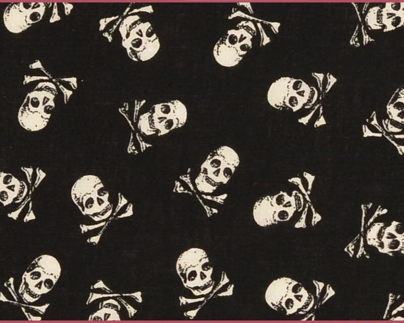 Halloween Pirate Skull and Crossbone Cotton Poplin