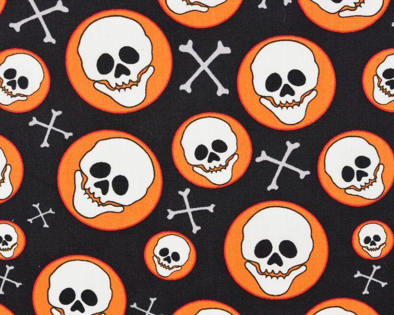 Halloween Skull Circle Cotton Poplin