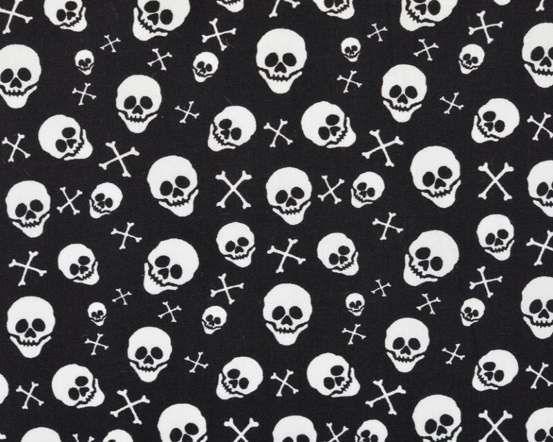 Halloween Skull and Crossbone Cotton Poplin