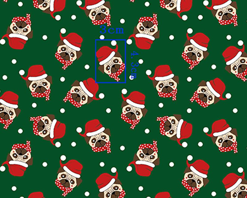 Santa Hat Pug Polycotton