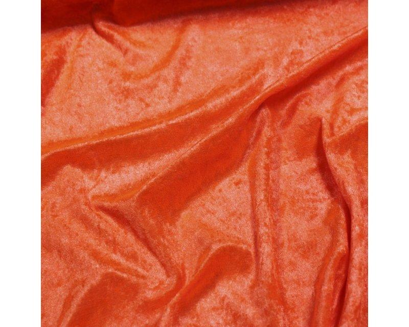 Crushed Velvet Velour Fabric Material FLO TANGERINE