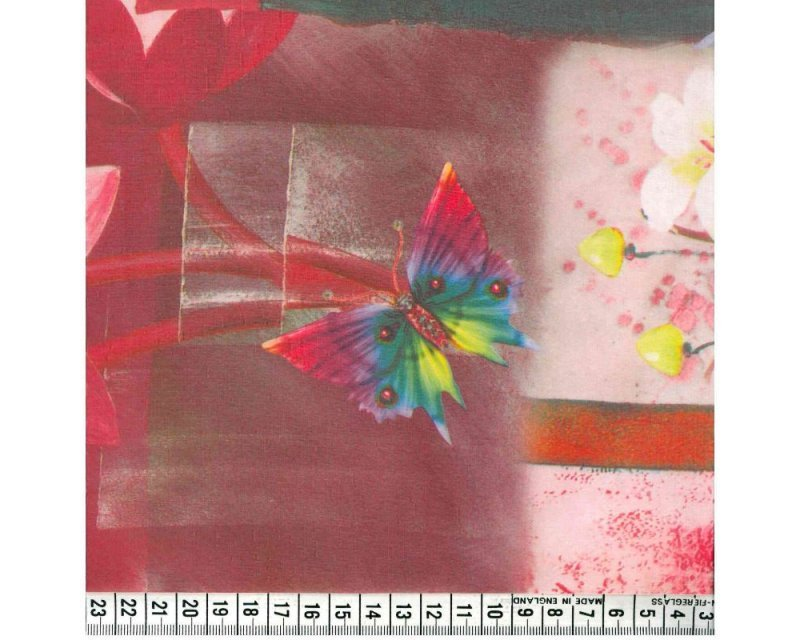 Floral Butterfly Digital Georgette