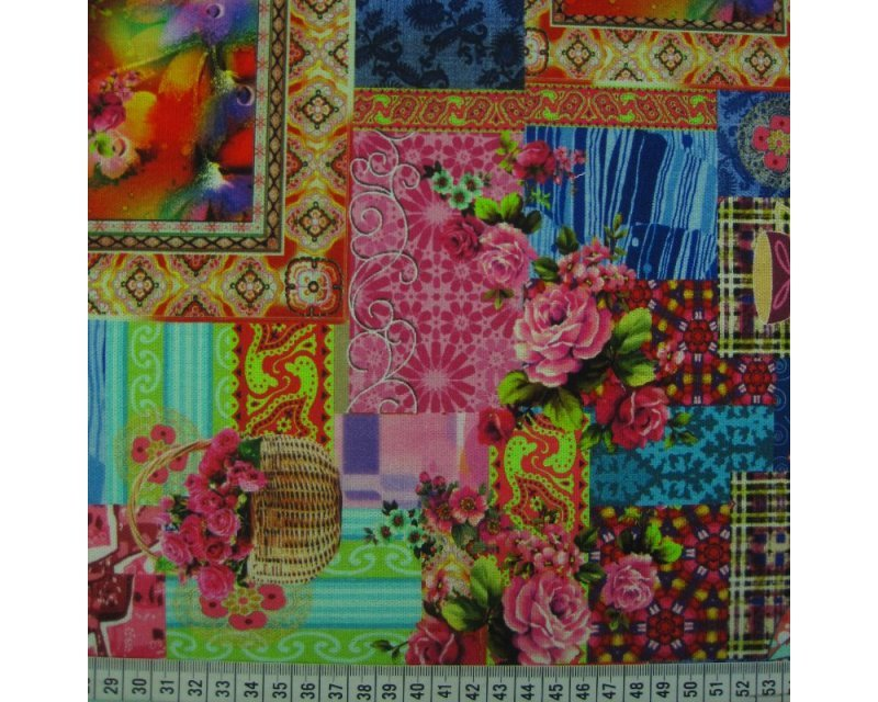 Floral Patchwork Digital Cotton Canvas