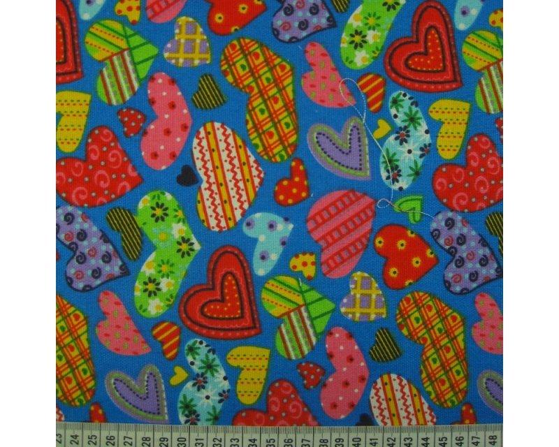 Hearts Polycotton Canvas