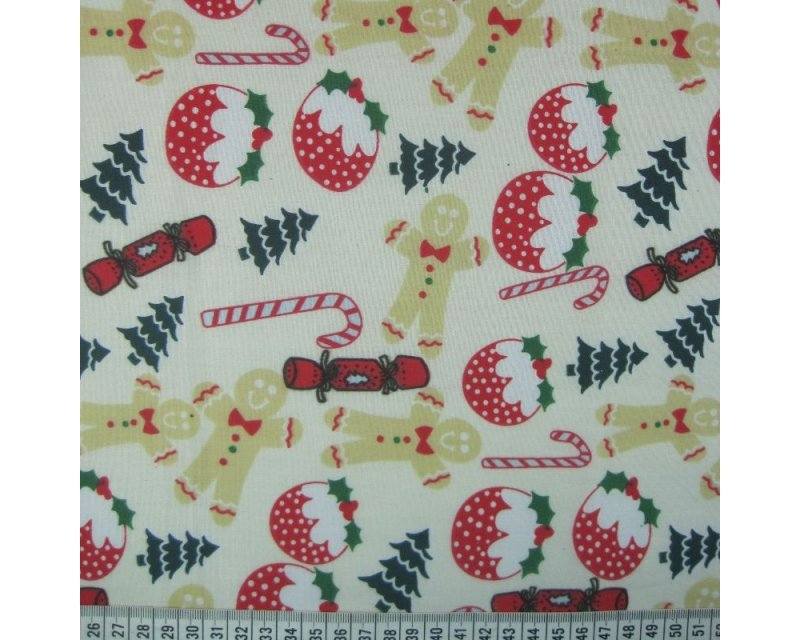 MP Christmas Gingerbread Pudding Polycotton