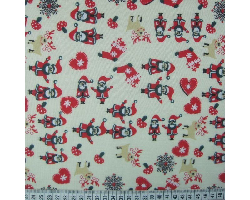 MP Xmas Santa Hearts Polycotton