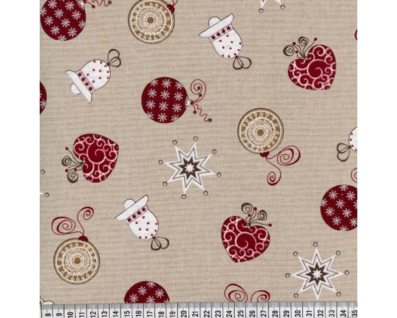 Xmas Baubles Hearts Polycotton Canvas