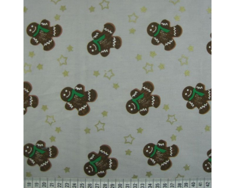 Xmas Gingerbread Men Cotton Poplin