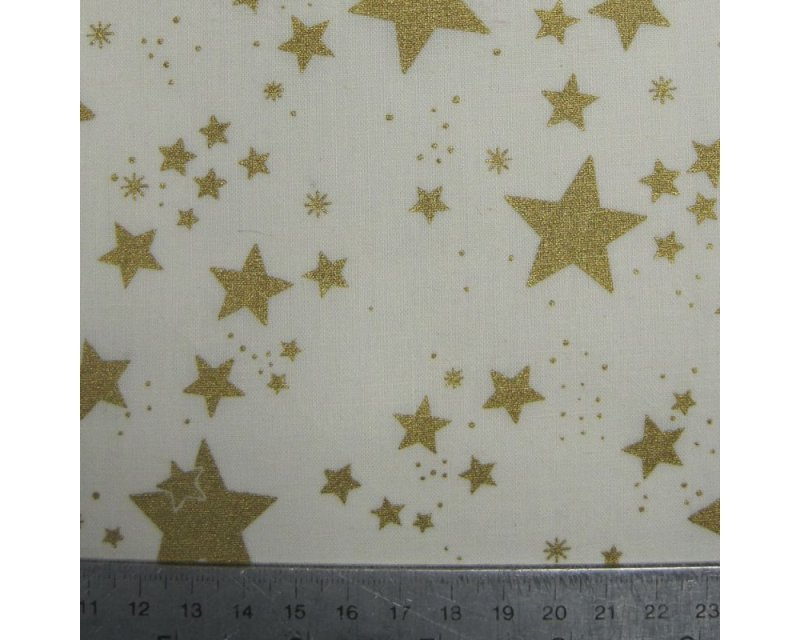 Xmas Gold Stars Cotton