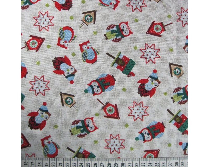 Xmas Owls Cotton
