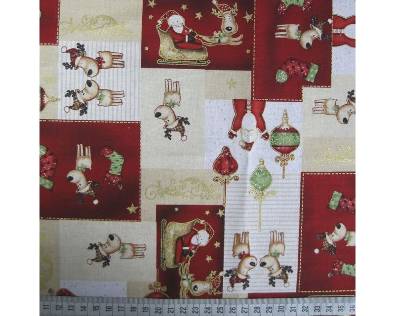 Xmas Patchwork Reindeer Cotton