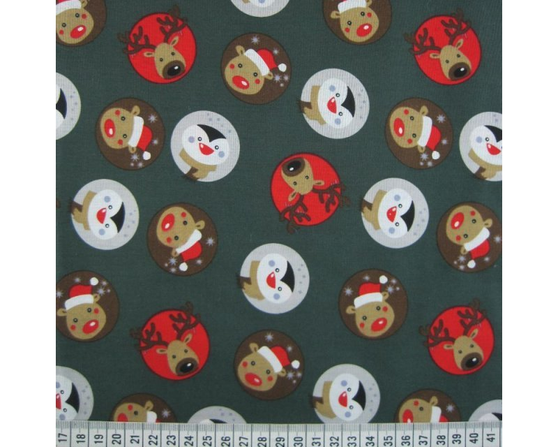 Xmas Reindeers Penguins Cotton Poplin