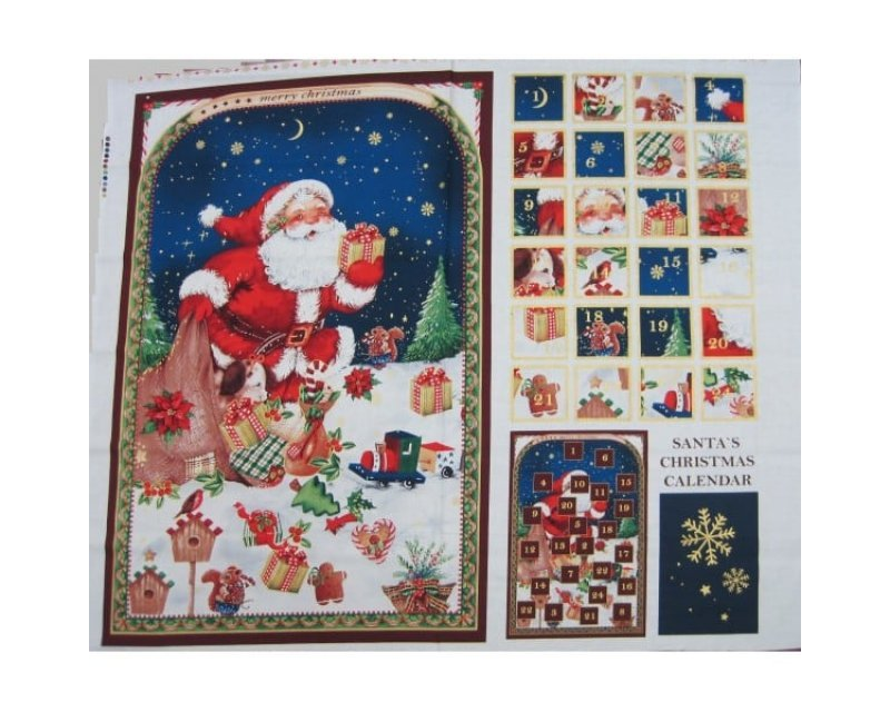 Xmas Santa Advent Calendar Cotton