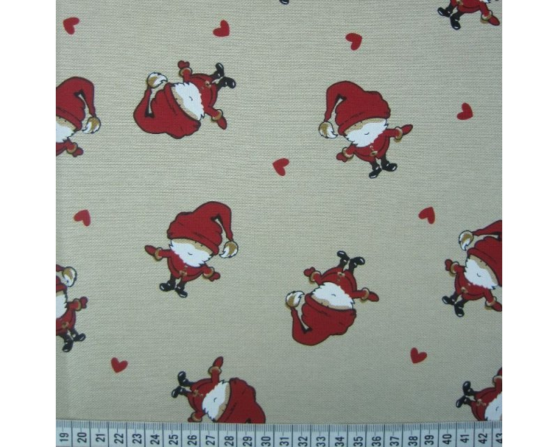 Xmas Santa Hearts Polycotton Canvas