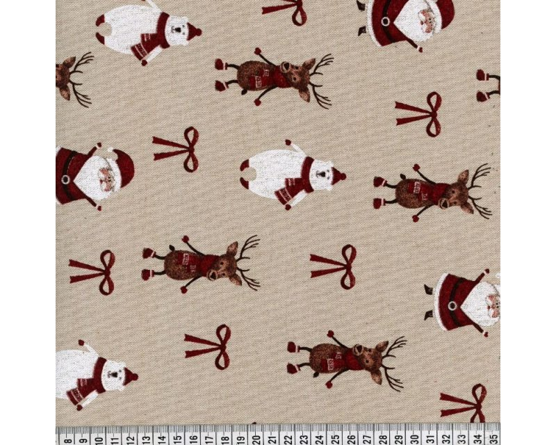Xmas Santa Polar Bear Polycotton Canvas