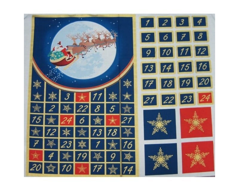 Xmas Santa Reindeer Advent Calendar Cotton
