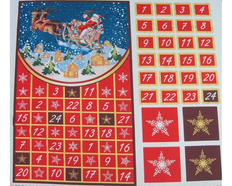 Xmas Santa Sleigh Advent Calendar Cotton