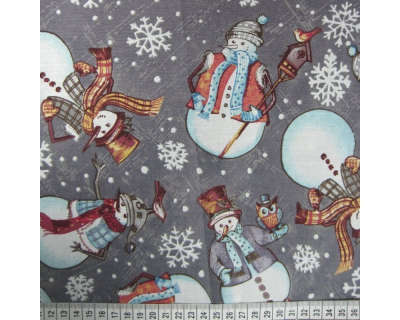 Xmas Snowmen Cotton
