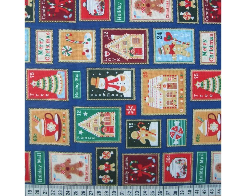 Xmas Stamps Cotton